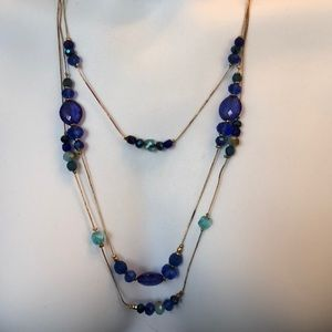 Jewelry - Blue & Gold Triple Necklace